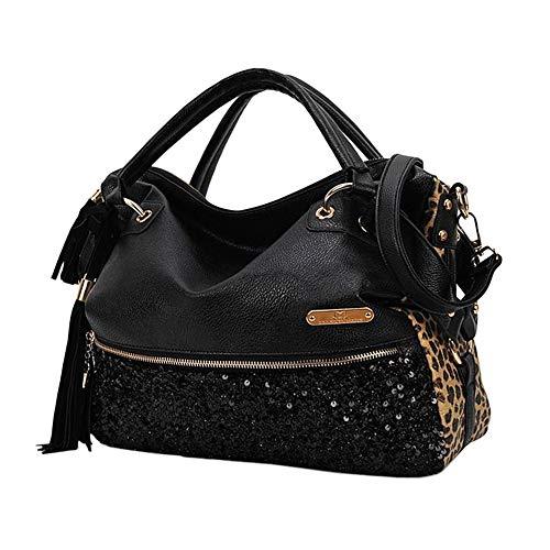 Segater® Handtaschen für Damen, Mehrfarbige Hobos der Frauen Schultertasche Leopardenmuster Tote Umhängetasche - Schwarz Leopard Print Tote
