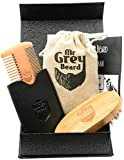 Mr Grey Beard - Mens Top Quality Beard and Moustache Grooming Care Kit - Wooden Beard Boar Bristle Brush + Beard Comb With Leather Carry Wallet + Premium Magnetic Gift Box Set + Top Quality Material Travel Bag + Perfect Gift Set.