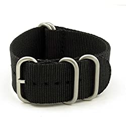 StrapsCo 24mm Black Matte Silver 5-Ring G10 Ballistic Nylon Nato Zulu Watch Strap