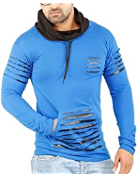 Perfect Creations Men's Cotton And Leather Full Sleeve Blue Color Hooded T-Shirt