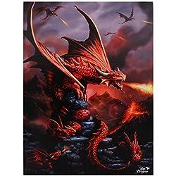 Algo diferente Fire dragón Lienzo, rojo, 50x 70cm