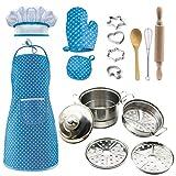 iVansa Kochmütze für Kinder, 11 Stück Schürzen-Set mit Blau Kinderschürze, Kochmütze, Topfhandschuh und Kinder Küchenaccessoires, Chef Kostüm Kochset für Kinder
