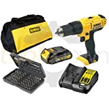 Dewalt 18v XR Cordless Lithium Combi Drill & Driver, With Hammer Action Facility Complete With Lithium Battery, Fast Charger, Canvas Carry Bag & 100