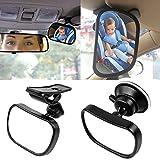 Starcrafter Specchietto retrovisore interno per auto (85¡Á50mm), Vi consente di prendersi cura il vostro bambino attraverso lo specchietto senza distrarsi dalla guida, regolabile con ventosa e clip adatto a tutti i tipi di vetture