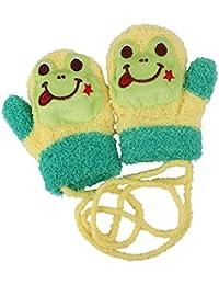 Merssavo 1 Paire Gants Chaud d'hiver Tricotés avec motif grenouille à Cordes pour Bébés garçons filles