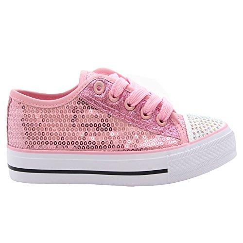 MYSHOESTOREDiamante Canvas Shoes - A collo basso da ragazza' Pink / Sequins