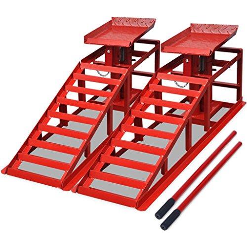 vidaXL 2X Auffahrrampe mit Wagenheber Rot Stahl PKW Auto Rampe Hebebühne - Stahl-rampe
