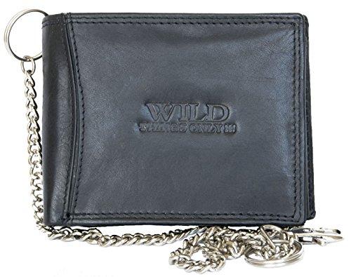 Billetera Wild negro estilo motero de cuero con cadena de metal