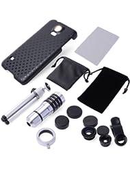 Xcsource DC457 - Kit 4 en 1 de lente zoom 12x, lente ojo de pez, lente gran angular y micro para Samsung Galaxy S5 GT-i9600