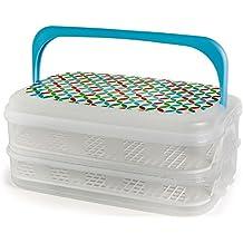 Kigima Contenitore per alimenti scatola di trasporto Partito Butler 14l blu 2 piani con decorazioni e due inserti