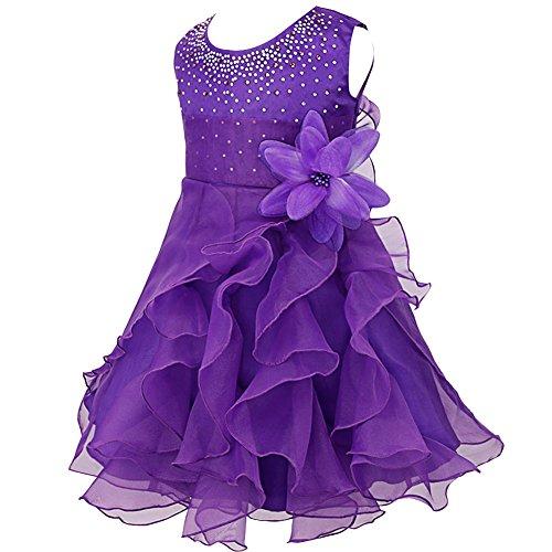 iiniim Baby Mädchen Kleid Prinzessin Kleid Blumenmädchenkleid Festlich Hochzeit Kleid Kleinkind Taufkleid Partykleid Festzug Lila 80-86/12-18 Monate (Prinzessin Kleid Kleinkind Lila)