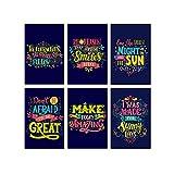 Lot de 6 affiches murales uniques avec citations motivantes - Pour la croissance - Pour la salle de classe - Pour la décoration murale des chambres d'enfants - Idéal pour les enseignants, 28 x 43 cm