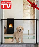Queenii Magic Gate for Dogs, Pet Safety Gate, Portable Folding Mesh Magic Gate, Safe Guard Install Anywhere, No Smell Safety Fence for Hall Doorway Wide 41