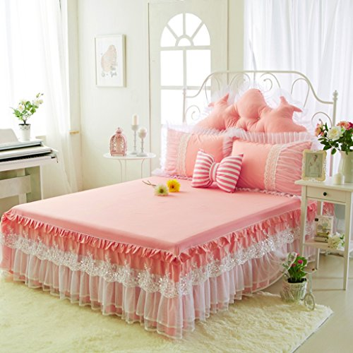 VERCART Parure de Lit Dessus de Lits et Couvre-lits avec Jupe Plissée en Coton avec Dentelle Chic Romantique pour la Chambre Fille Enfant 120x200CM Rose