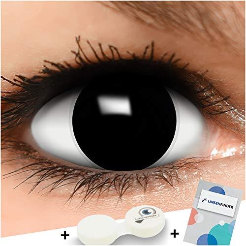 Farbige Kontaktlinsen Hexe in schwarz + Behälter - Top Linsenfinder Markenqualität, 1Paar (2 Stück)
