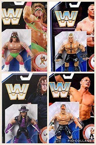 All 4 Komplettset WWE Retro Mattel Series 1 Figuren - The Ultimate Krieger, The Undertaker, John Cena & Brock Lesnar -