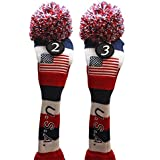 USA Majek Golf #2 & 3 Hybrid Headcovers Pom Pom Knit Limited Edition Vintage Classic Traditional Flag Stars Red White Blue Stripes Retro Head Cover