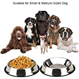 Pets Empire Stainless Steel Dog Bowls Pets Water Food Dishes Cats Feeding Utensils With Non-Slip Rubber Lip Perfect For Puppies And Medium Size Pets (set Of 2)