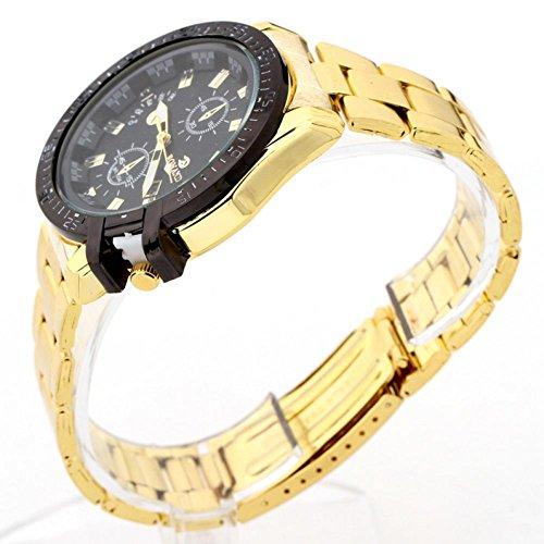 Freigabe !!! Damen Herrenuhren, Kingwo Luxus Mens Black Dial Gold Edelstahl Datum Quarz Analog Sport Handgelenk Watc (E)