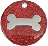 Just Pets Quality Enamel Red Glitter Dog Tag, Dog Bone Design, Personalised, Engraved Free