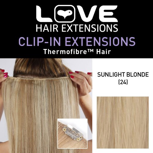 Love Hair Extensions Clip-In Haarverlängerung Silky Straight Thermofaser, 45 cm, 24 Sunlight Blonde