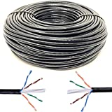 Mr. Tronic 100m Cavo di Rete Ethernet | CAT6, AWG24, CCA, UTP, RJ45 | Bobina di Rete (100 Metri, Nero)