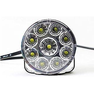 Runde LED Lichter Für Autos, 2Pcs 9W 600Lm Mit 9 Leuchten Wasserdicht Tagfahrleuchten Mit Reflektorschalen Für Die Offroad UTV ATV Jeep Wrangler LKW