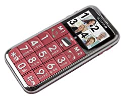 Olympia Großtasten Mobiltelefon,Seniorenhandy,SOS-Knopf,inkl. Ladeschale,Modell Chic II,rot