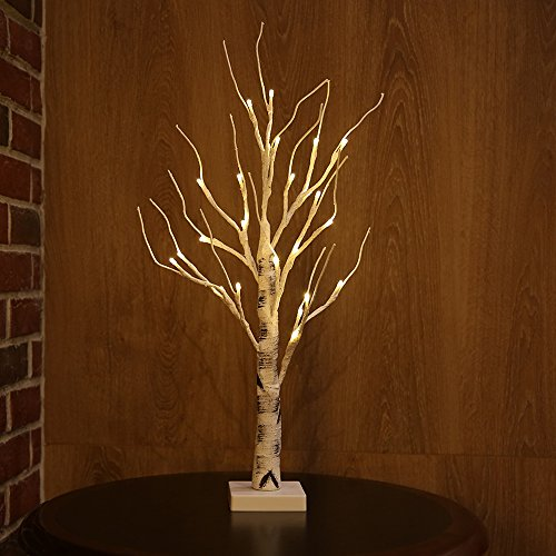 Zanflare 0.6M/23.6 Pulgada 24 LEDs Luz del árbol del escritorio con pilas, luz blanca caliente del árbol de los bonsai, árbol de la ramita del abedul de plata para el hogar, partido, cumpleaños, decor
