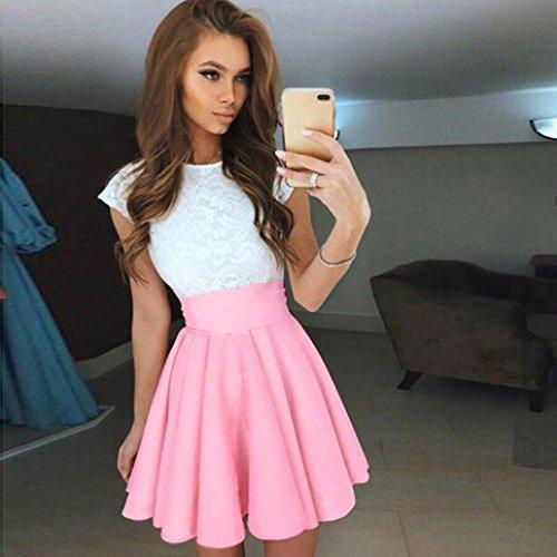 Oyedens Womens Lace Party Cocktail Mini-robe Ladies Summer de à manches courtes Robes Rose