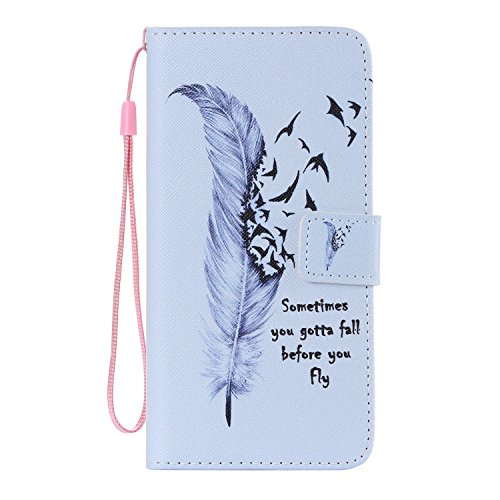 iPhone 6 Plus Wallet Case,iPhone 6S Plus Coque - Felfy Flip-style Magnetic Closure Étui Portefeuille Housse Book Style Full Body Coloré Peint Motif Dragonne Portefeuille Lanyard PU Cuir Coque Etui(Pis Plume D'oie