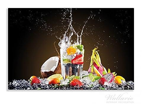 Wallario Herdabdeckplatte / Spritzschutz aus Glas, 2-teilig, 80x52cm, für Ceran- und Induktionsherde, Motiv Tropische Früchte in einem erfrischenden Drink