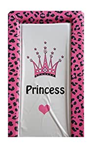 Girls Deluxe PVC Change/Changing Mat - FUCHSIA PINK LEOPARD PRINT CROWN PRINCESS