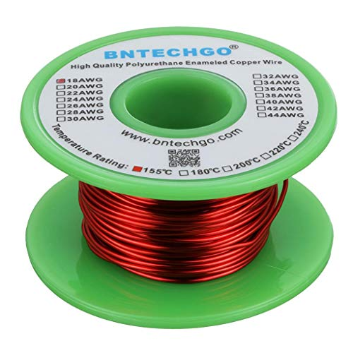 BNTECHGO 18 AWG Magnet Wire - Enameled Copper Wire - Enameled Magnet Winding Wire - 4 oz - 0.0393'...