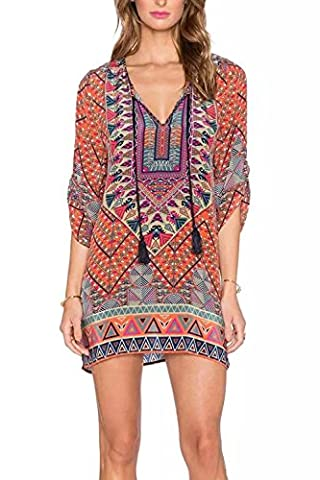 WIWIQS Womens Bohemian Neck Tie Vintage Printed Ethnic Style Summer Shift Dress,S