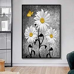 UDIYXC Nórdico Púrpura Amarillo Azul Gris Moderno Arte de la Margarita de la Pared Floral Mariposa Pintura de la Lona Impresiones y Cuadros 60x80cm