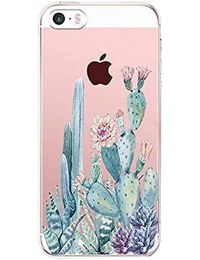 vanki Iphone 5/5S/SE Funda, Protectiva Carcasa de Silicona de Gel TPU Transparente, Ultra Delgada, Amortigua los...
