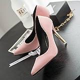 Xue Qiqi Estudios de Formación Profesional los Zapatos de Tacón Alto con un Solo Zapatos de Punta Fina Trajes para Mujeres y versátil Color Mate y Raw,39, Rosa Zapatos de Mujer