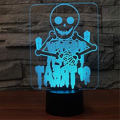 XIAOXINYUAN Kreative Bunte Touch Control LED Nachttischlampe USB Schlaf Nachtlicht Geschenk Home Terror Halloween Decor