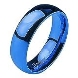 Mianova Band Ring Edelstahl Bandring Ehering Herrenring Damenring Partnerring Verlobungsring Damen Herren Blau Größe 55 (17.5) Breit 6mm