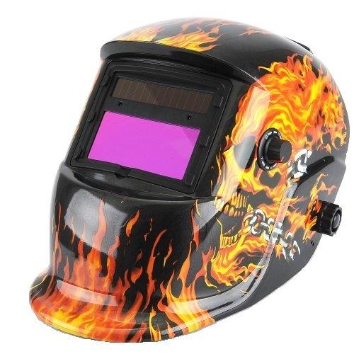 Amzdeal Schweißhelm Automatik Schweißmaske mit Augenschutz Strahlenschutz Funktion Solar Schweißschild Schutzstufen 9-13 (Schwarz + Flamme)