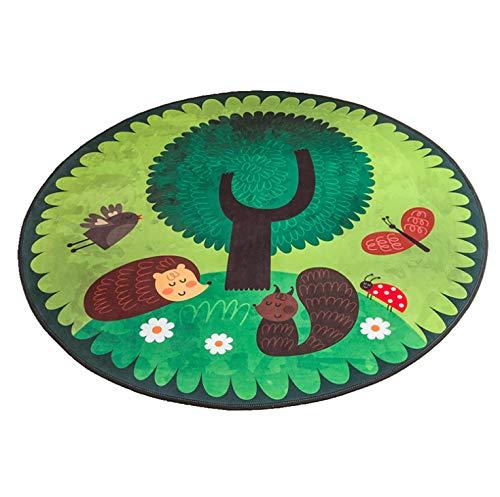 Lkrou Set Famiglia di tappeti Tappeto Rotondo Cartone Animato Cameretta per Bambini Gioco strisciante Coperta A2 Camera da Letto per Bambini 80X80cm