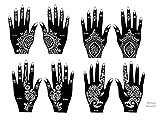 8Blatt Mehndi Tattoo-Schablonen für die Hand, Mehndi Henna-Tattoos, Set 4 Einweg-Blätter–Für Henna-Tattoos, Glitzer-Tattoos und Airbrush-Tattoos