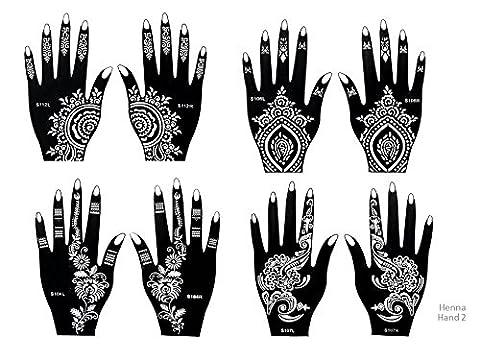 8 Feuilles Mehndi Tatouage Pochoir pour la main Mehndi Tatouages au henné Set 4 à usage unique - pour tatouage au henné, tatouage paillettes et aérographe tatouage