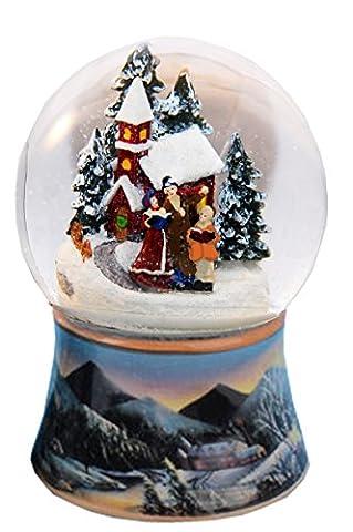 20083 Nostalgie-Schneekugel Romantischer Winterspaziergang Dreh-Spieluhr 10cm Durchmesser