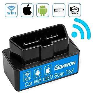 Gemwon Mini WiFi OBD2, Elm327 OBD2 Scanner Werkzeug, Mini Auto OBD2 OBDII Scan Tool Selbstdiagnosescanner Codeleser Check Engine für IOS & Android (Mini Black)