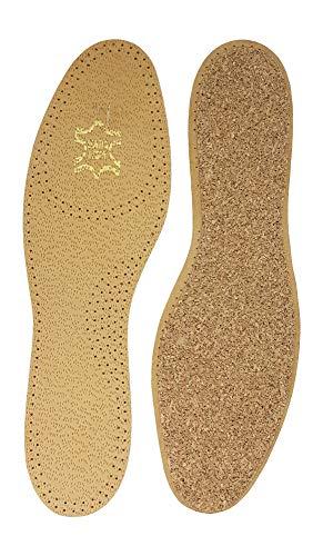 Green-Feet 2 Paar echte Leder Einlegesohle-n Basic Einlage-n braun Damen Herren Gr.36-48 (Kork, 40 EU)