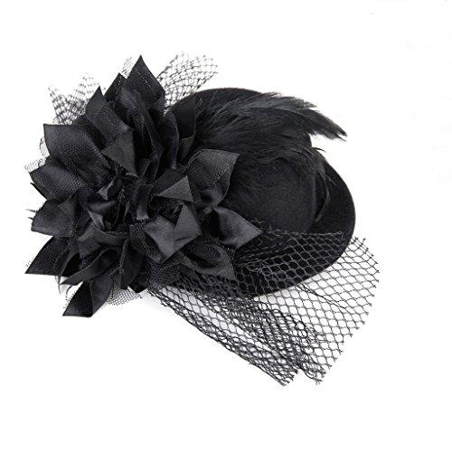 SODIAL(R) Frauen blumengeschmueckten Haarspange Feder Burlesque Punk Mini Spitze Hut schwarz (Mini-hüte Für Frauen)
