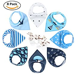 Baby Dribble Bib - Bandana Dribble Bibs Boys, Bandana Drool Bibs For Toddlers, Super Absorbent Soft Cute Bibs Girls, Ideal New Baby Gift With 2 Adjustable Snaps - 8pcs