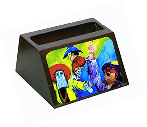 s Mardi Gras Maskiert Riders Dekorativer Desktop Holz Visitenkartenhalter, groß, Multicolor ()